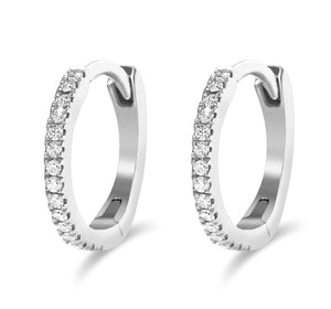 14K Gold Mini Diamond Hoops