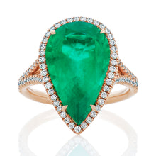 Load image into Gallery viewer, Green Emerald Pear and Diamond Halo Ring