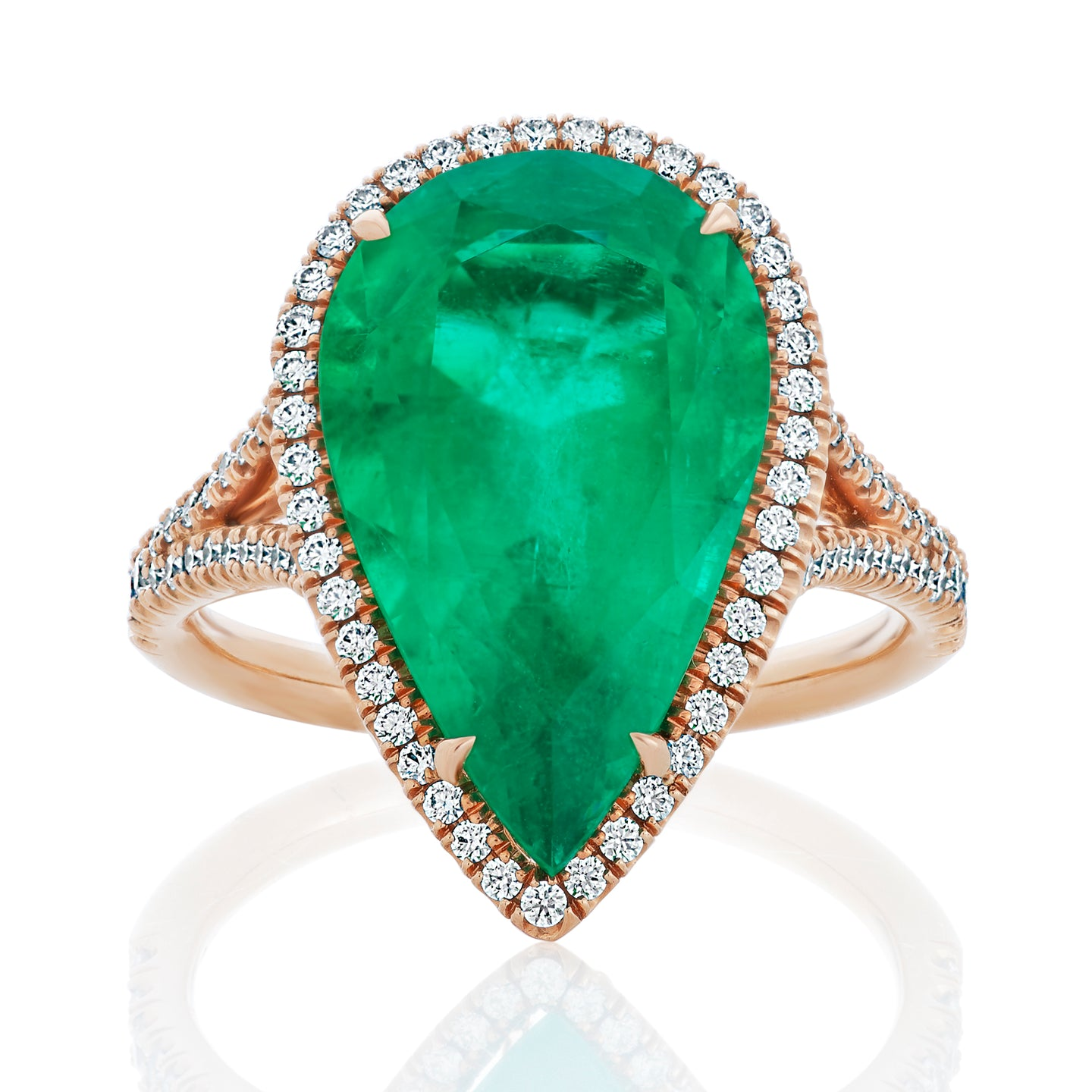 Green Emerald Pear and Diamond Halo Ring
