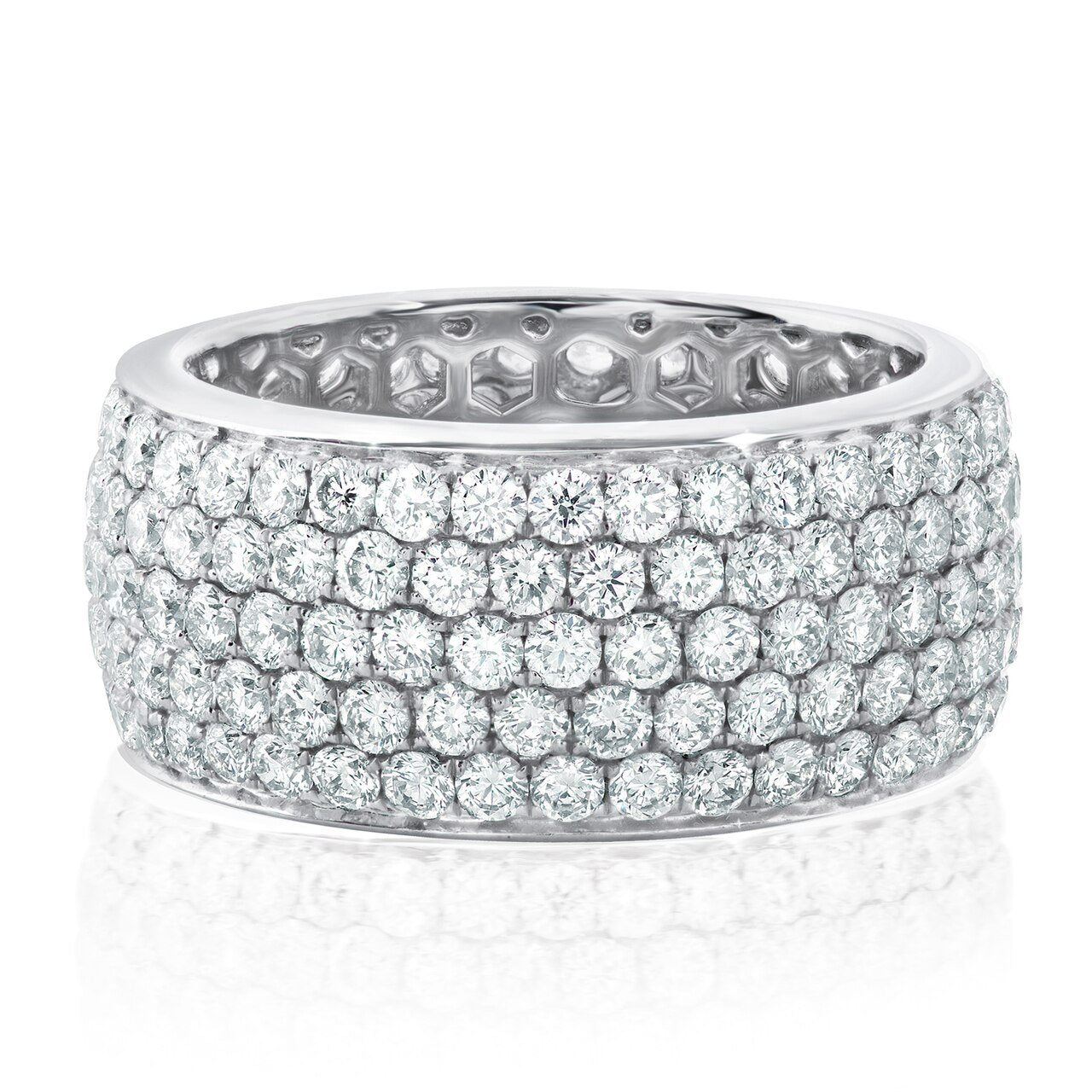 18K White Gold 5 Row Diamond Band