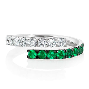 Emerald and Diamond Cross Over Ring