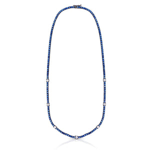 "Sapphire and Diamond Necklace ""15.5"""