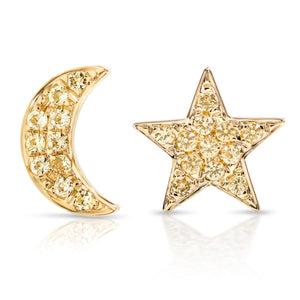 Yellow Sapphire Star and Moon Earrings