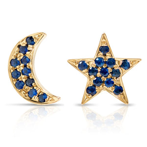 Blue Sapphire Moon and Star Earrings