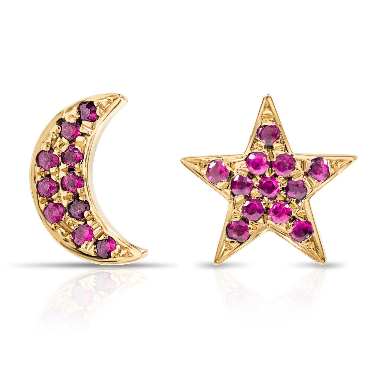 Pink Sapphire Moon and Star Earrings