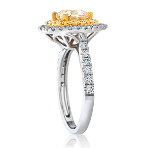 Fancy Yellow and White Diamond Heart Shape Ring