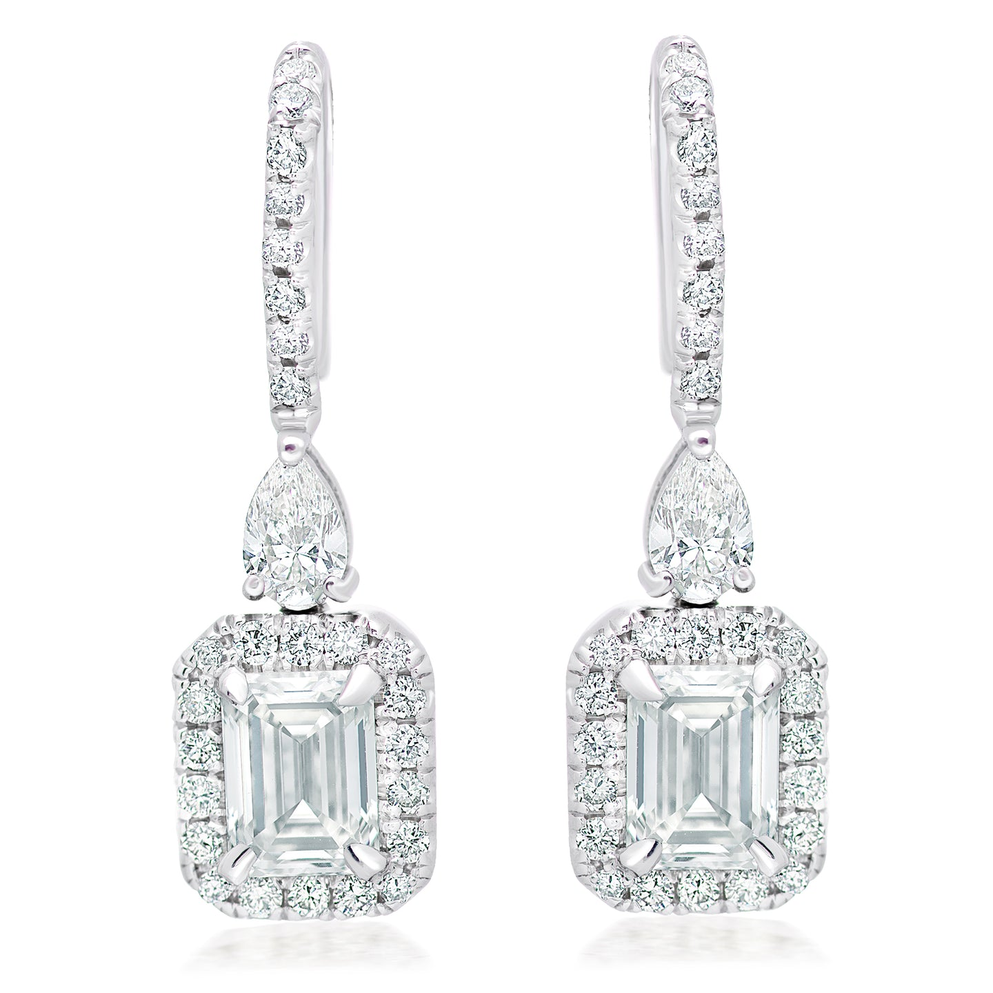 Emerald Cut and Pave Diamond Hanging Earrings