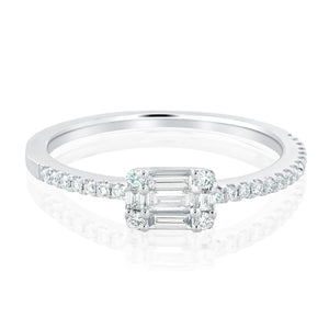 Baguette and Round Diamond Dainty Ring