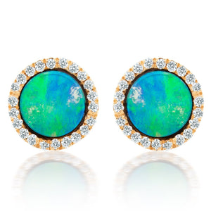 Opal and Diamond Button Earrings