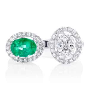U Shape Emerald and Diamond Ring