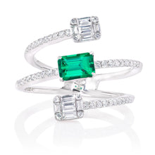 Load image into Gallery viewer, Emerald and Diamond Small Cage Ring