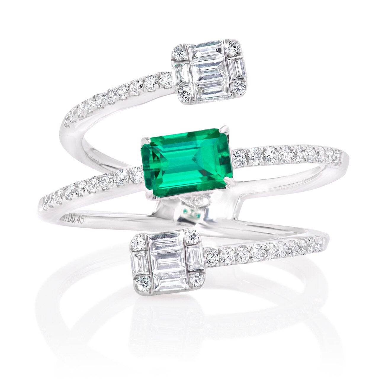 Emerald and Diamond Small Cage Ring