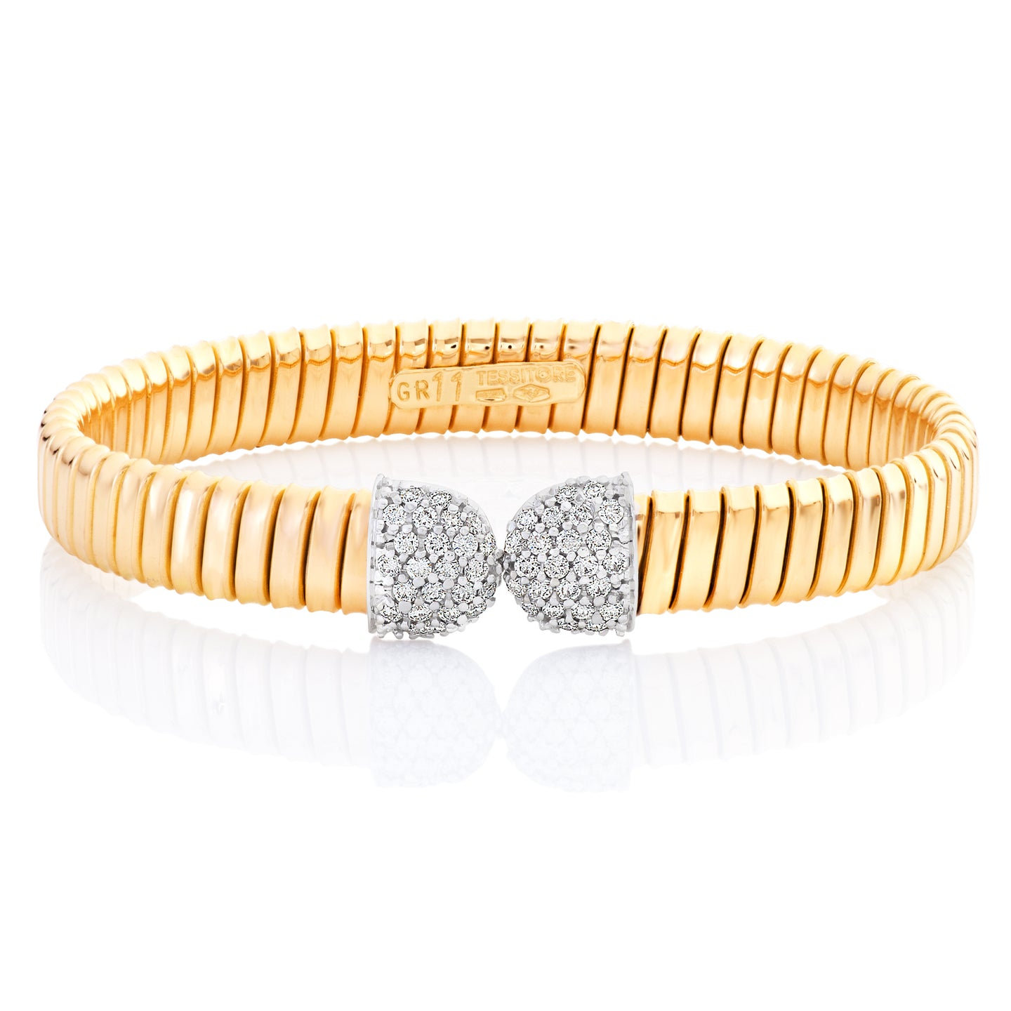 Yellow Gold Diamond Flex Cuff Bracelet