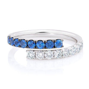 Sapphire and Diamond Cross Over Band