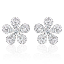Load image into Gallery viewer, Diamond Small Flower Earrings
