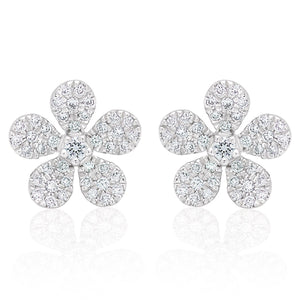 Diamond Small Flower Earrings