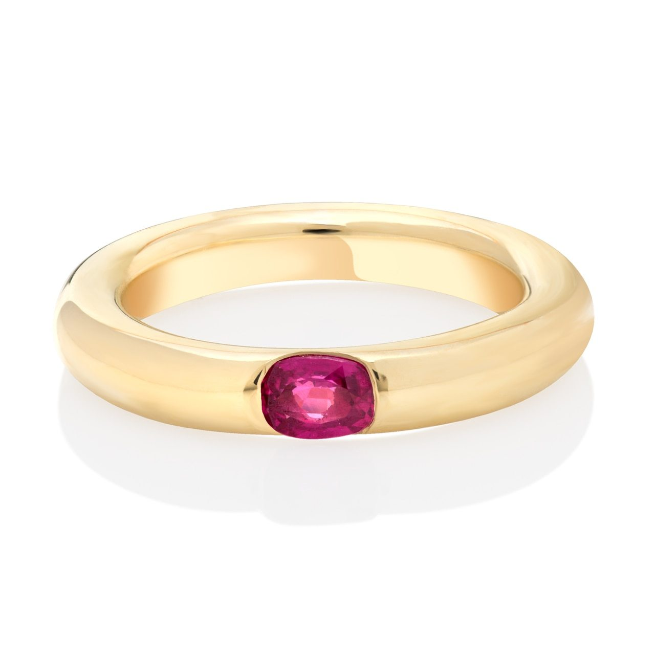 Gold Flush Set Ruby Band