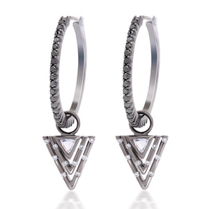 Black and White Diamond Dangle Triangle Earrings