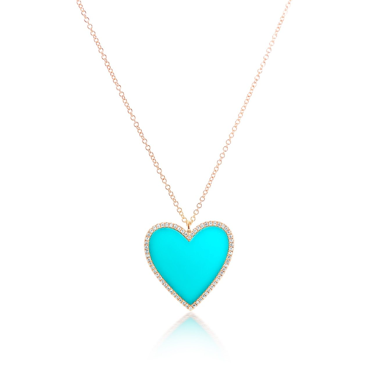 Turquoise and Diamond Heart Pendant