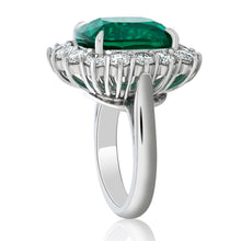 Load image into Gallery viewer, Cushion Cut Green Emerald and Diamond Ring