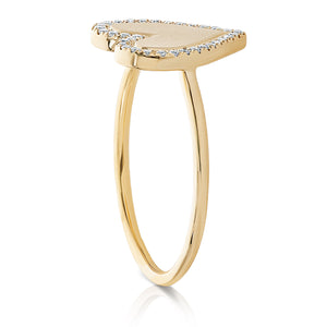 Gold Pave Diamond Heart Ring