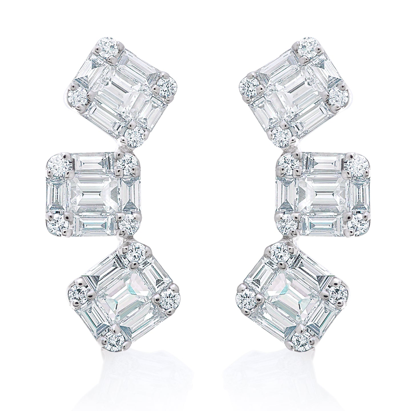 Illusion Diamond Ear Climber Earrings