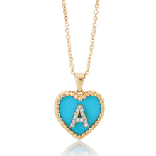 Load image into Gallery viewer, Small Turquoise Heart Diamond Initial Pendant