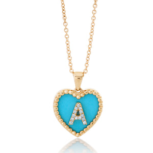 Small Turquoise Heart Diamond Initial Pendant