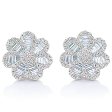 Load image into Gallery viewer, Baguette and Round Diamond Large Flower Earrings