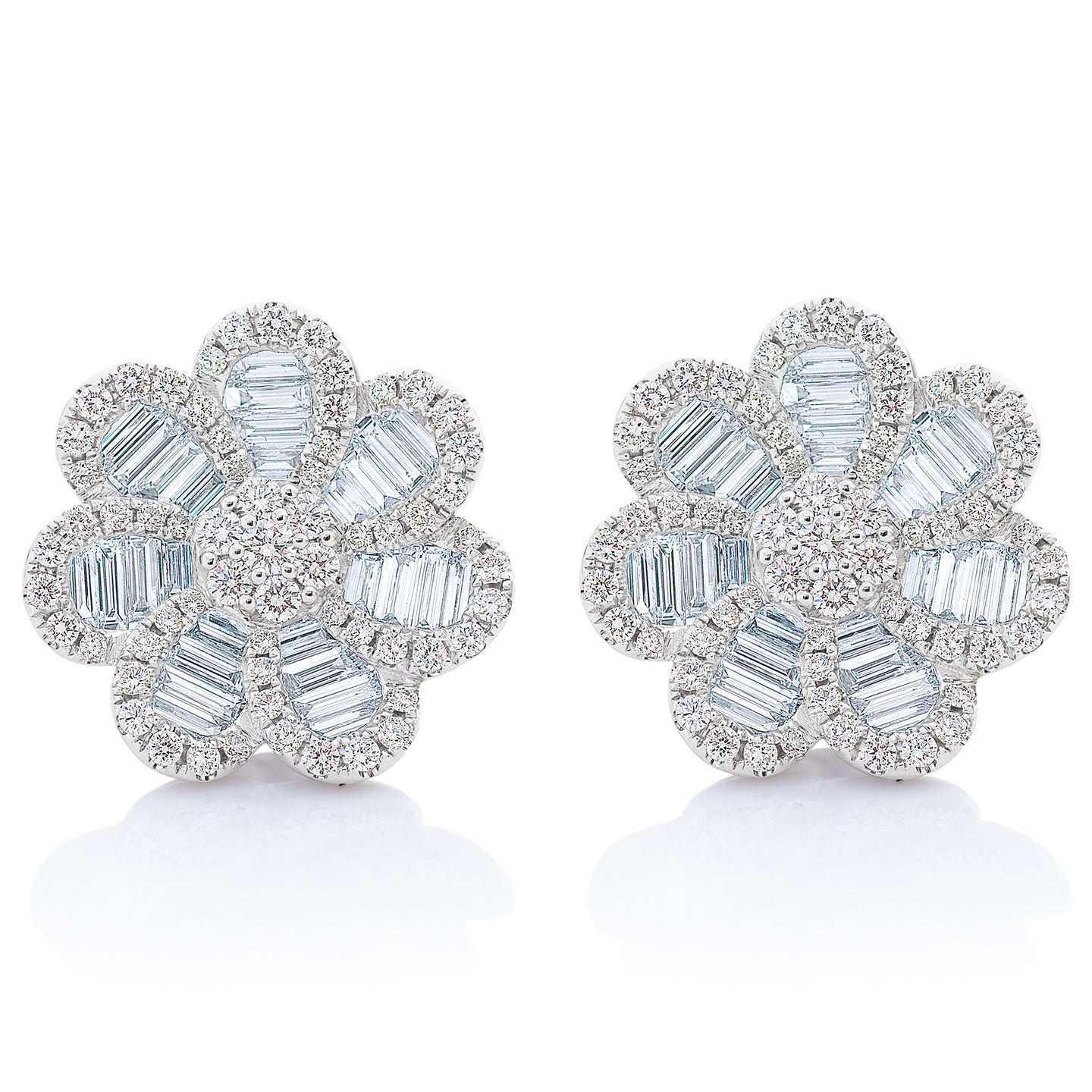 Baguette and Round Diamond Large Flower Earrings