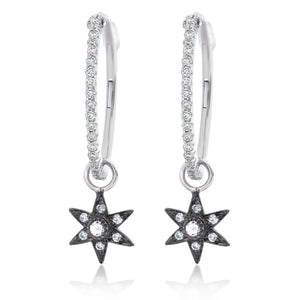 Diamond Hoop and Star Charm Earrings.