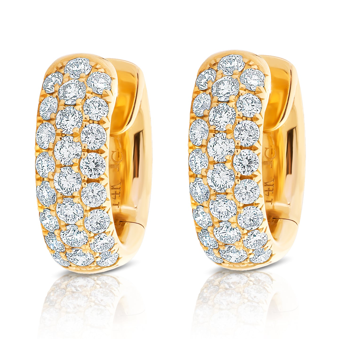 Multi Row Diamond Huggie Earring