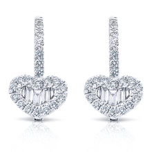 Load image into Gallery viewer, Baguette and Round Diamond Heart Earrings