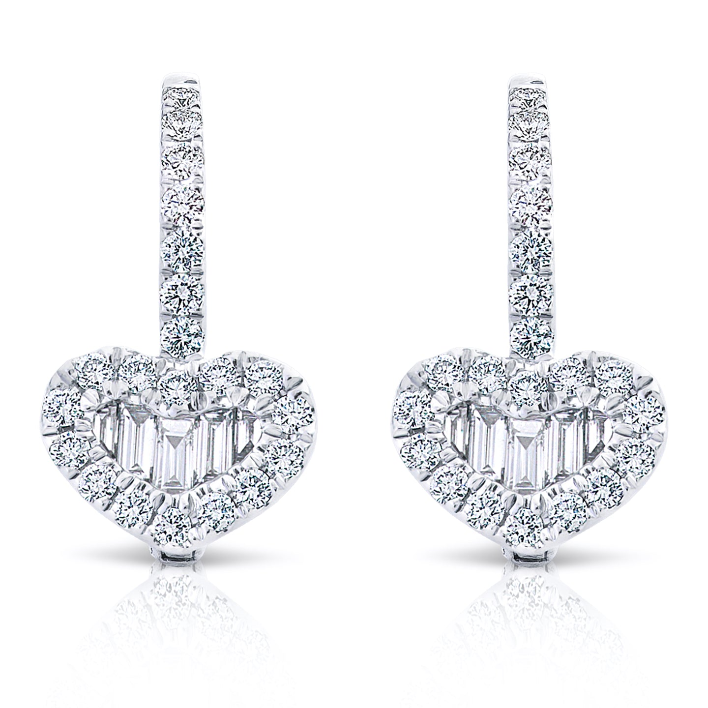 Baguette and Round Diamond Heart Earrings