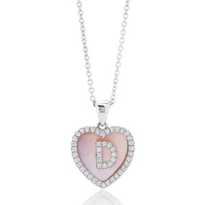 Diamond Heart Mother of Pearl Pendant