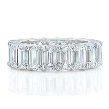 Load image into Gallery viewer, Platinum Emerald Cut Eternity Diamond Band