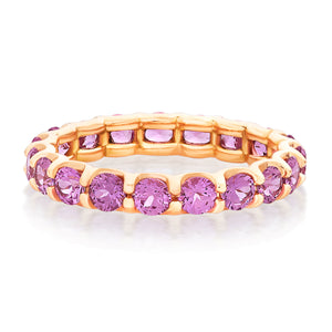 Round Pink Sapphire Shared Prong Eternity Band