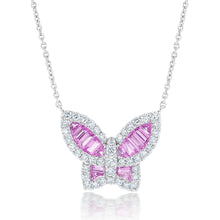 Load image into Gallery viewer, Large Pink Sapphire and Diamond Butterfly Pendant