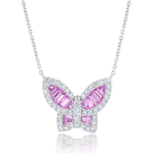 Large Pink Sapphire and Diamond Butterfly Pendant
