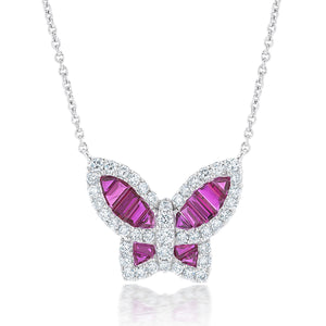 Large Ruby and Diamond Butterfly Pendant