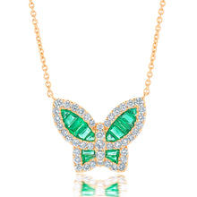 Load image into Gallery viewer, Large Emerald and Diamond Butterfly Pendant
