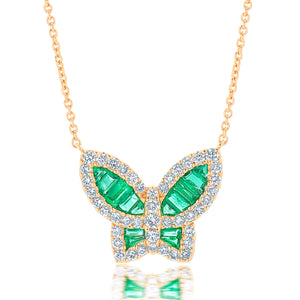Large Emerald and Diamond Butterfly Pendant