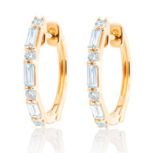 Load image into Gallery viewer, Diamond Baguette and Round Diamond Hoops
