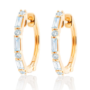Diamond Baguette and Round Diamond Hoops