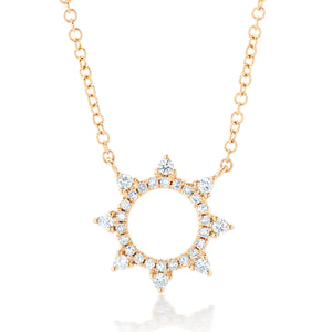 Open Sun Burst Diamond Pendant