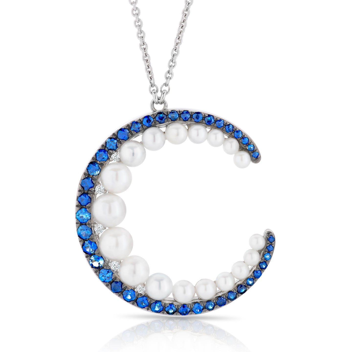 Sapphire, Diamond and Pearl Moon Necklace