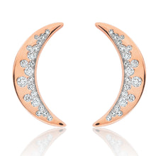 Load image into Gallery viewer, Diamond Crescent Half Moon Earrings