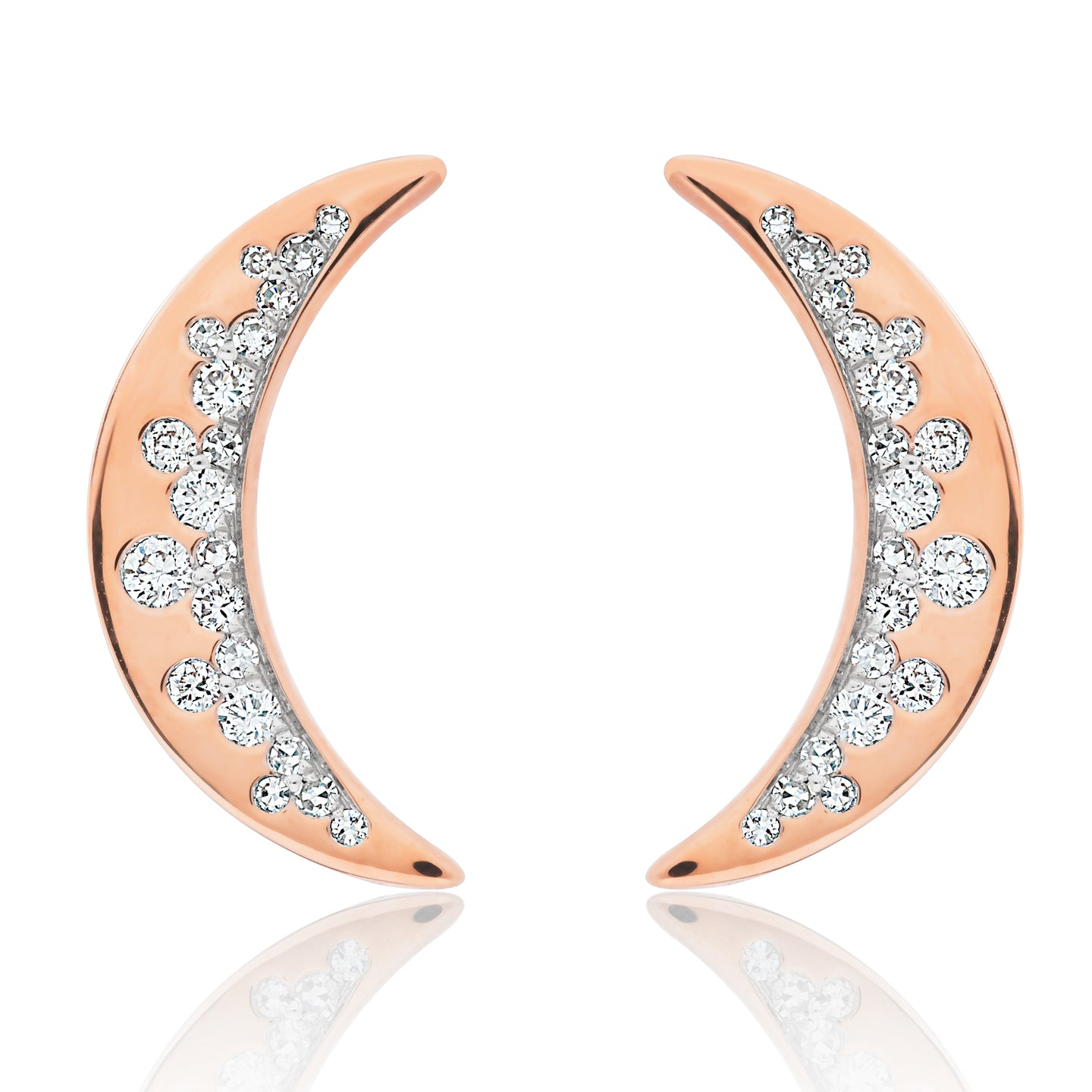 Diamond Crescent Half Moon Earrings