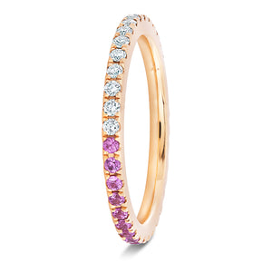 Half Pink Sapphire and Diamond Band