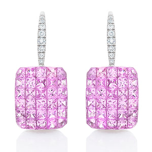 Pink Sapphire Illusion Set Earrings